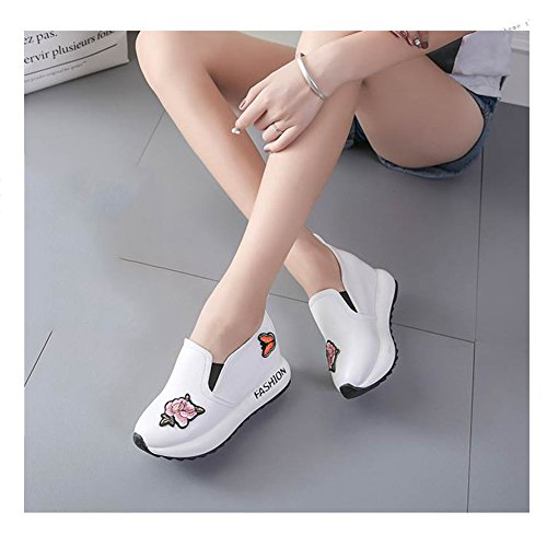 Btrada Mujeres Fashion Wedge Heel Loafer Zapatilla De Deporte Butterfly Butterfly Athletic Walking Outdoor Pull-on Zapatos Blanco