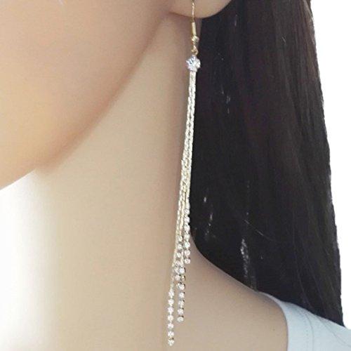 YABINA Long Tassel Luxury Crystal Dangling Earrings Jewelry Accessories (Gold) (Gold)
