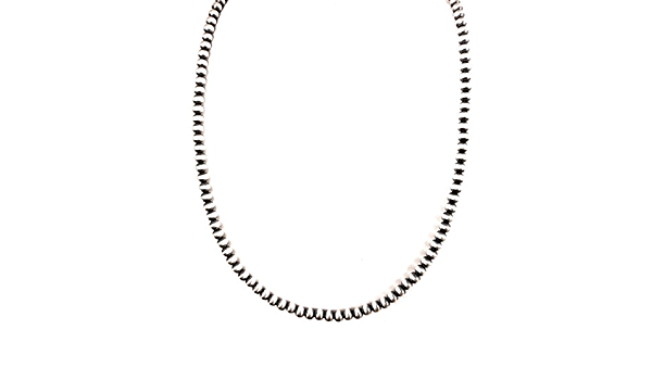 Navajo Pearls-8mm 925 Sterling Necklace-Seamless 925 Sterling Beads-Fine Sterling-Sterling Wheat Chain-18 inch-Elegant Classic-Isa Stone