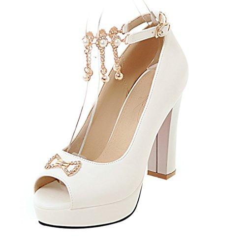 UH Talons Bride à Blanc pour avec Femmes D'Ete Elegantes Haut Noeud Sandales Bloc Papillon Cheville Strass et PSrpPq
