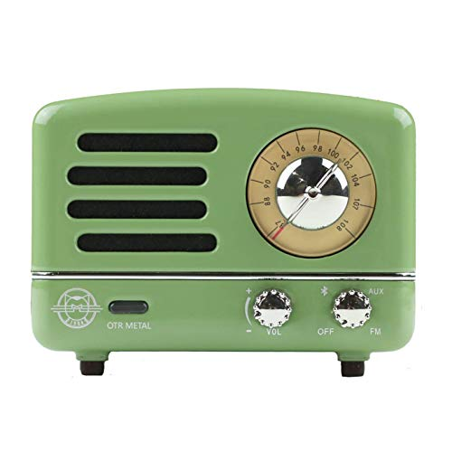 (Muzen Portable Wireless High Definition Audio FM Radio & Bluetooth Speaker, Metal Green with Travel Case - Classic Vintage Retro Design)