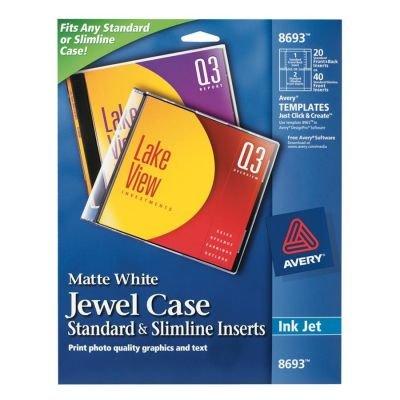 Avery 8693 Inkjet CD/DVD Jewel Case Inserts, Matte White, 20/Pack