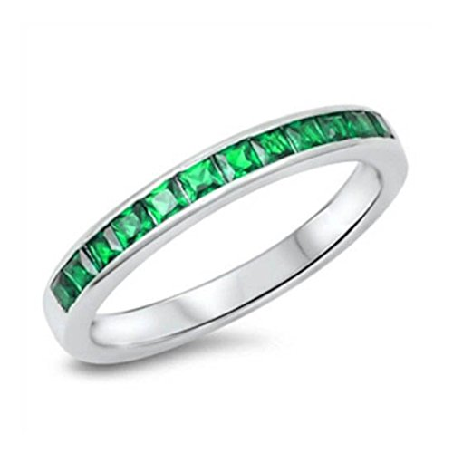 3mm Half Eternity Wedding Engagement Band Ring Princess Cut Simulated Emerald CZ 925 Sterling Silver, Size-6