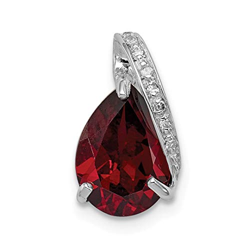 - 925 Sterling Silver Pear Red Garnet Pendant Charm Necklace Gemstone Fine Jewelry For Women Gift Set