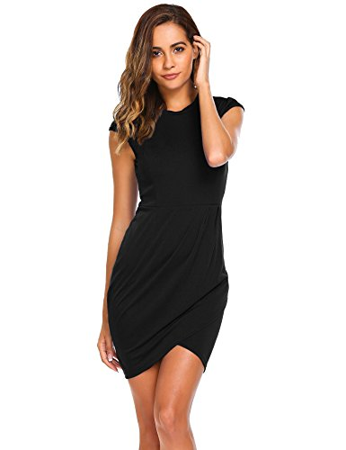 - Burlady Women's Modern Round Neck Stretchier Fabric Patchwork Dress(Black,X-Large)