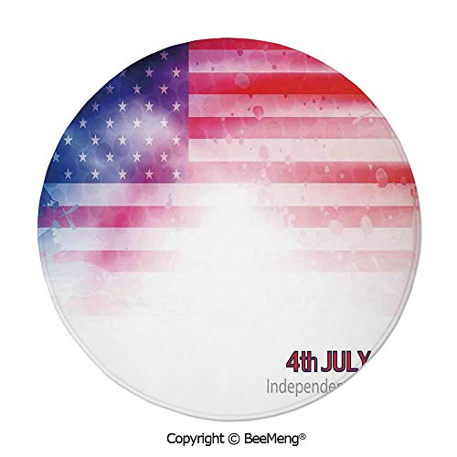 (Diameter31 inch,Printing Round Rug,Dragonfly,Mat Non-Slip Soft Entrance Mat Door Floor Rug Area Rug for Chair Living Room,,4th of July Decor,American Flag Background with Stars and Stripes Famous Coun)