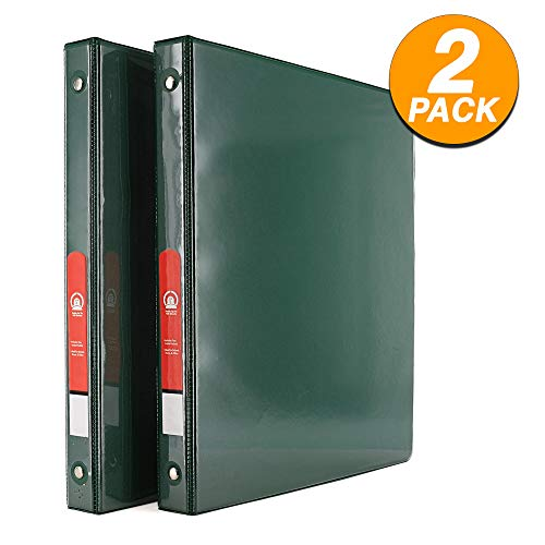 Emraw Super Great 1/2 3-Ring View Binder with 2-Pockets - Available in Green - Great for School, Home, Office (2-Pack)