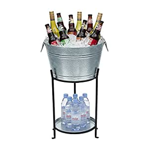 Amazon Com Ice Bucket With Stand And Tray Galvanized