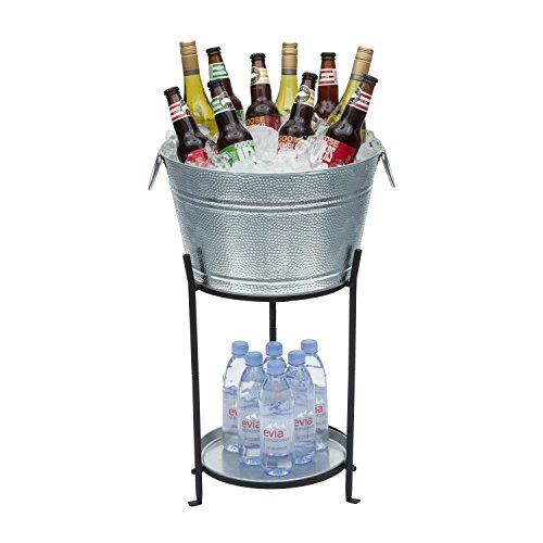 Beverage Tub With Stand and Tray - Galvanized Metal Party Bucket Is Perfect as a Cooler for Holding Beer, Wine, Champagne or Any Beverage - 5.4 Gallons - Superior Construction - Makes for a Great Gift
