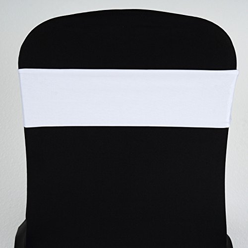 BalsaCircle 10 White New Spandex Chair Sashes Bows Ties - Wedding Party Ceremony Reception Decorations Supplies Wholesale