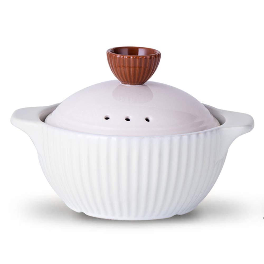 XRXY キャセロール、家庭用高温耐性ストライプキャセロール/耐熱セラミックス耐熱家庭用スープポット/アンチクラッキング実用スチールパン (色 : 白, サイズ さいず : 22cm) B07HQB3N4Q 22cm|白 白 22cm