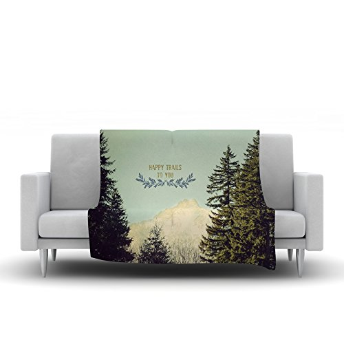 Kess InHouse Robin Dickinson Happy Trails Green Fleece Throw Blanket 80 by 60
