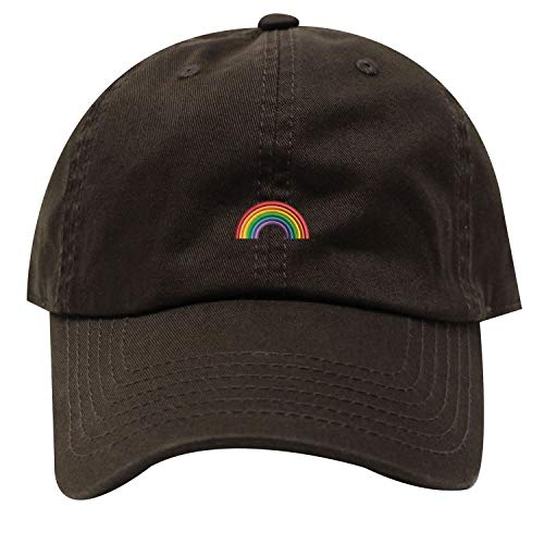 (INK STITCH Rainbow Cotton Baseball Caps 21 Colors (Brown))