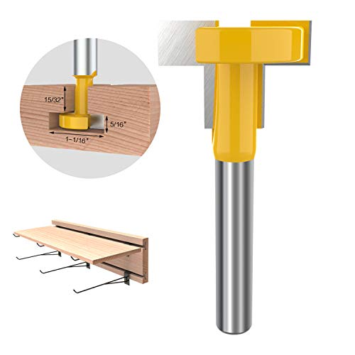 1/4-Inch Shank 1-1/16-Inch Cutting Diameter T-Slot T-Track Router Bit Slatwall Groove Forming Milling Cutter Woodworking Tool (Groove Forming Bit)