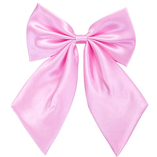 Pink Ladies Costume Accessories (Ladies Girl Bowknot Bow Tie - Adjustable Pre-tied Solid Color Handmade Bowties for Women Costume Accessory (Pink))
