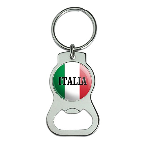 (Graphics and More Italia Italy Italian Flag Bottle Cap Opener Keychain Key Ring)
