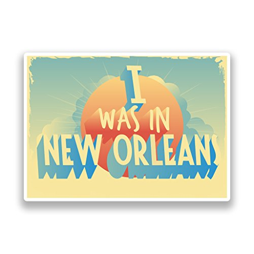 2 x 10cm/100mm I Was In New Orleans Vintage Vinyl Stickers Travel Luggage #7291