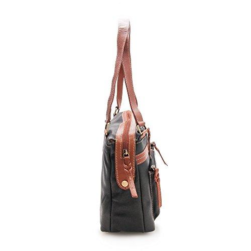 Zerimar Bolso Mujer | 100% Piel Alta Calidad | Bolso Señora | Bolso de Mano | Bolso Grande | Bolso Pequeño | Múltiples compartimentos | Medidas: 35 x 21 x 11 cms Negro tan