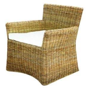 Sessel Stuhl Siam aus Rattan mit Kissen Sessel Gartenmöbel