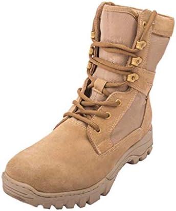 男砂漠の戦闘ブーツのための戦術的なブーツオックスフォード布と革布ラバーソールハイトップレースアップスタイルノンスリップ耐摩耗ダンピング (色 : 黄, サイズ : 26.5 CM)