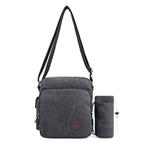 Casual Men's Bags Canvas Satchel Body Shoulder Cross Bag Black Defeng Messenger Multifunctional Sport p8OdFSqqn