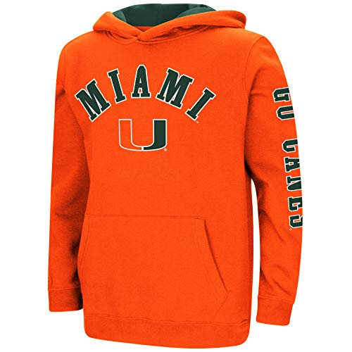 Colosseum NCAA Youth Boys-Crunch Time-Hoody Pullover (Miami Hurricanes-Go Canes, Youth X-Large)