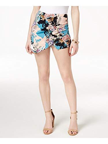 GUESS Womens Koko Floral Print Asymmetric Shorts Orange S