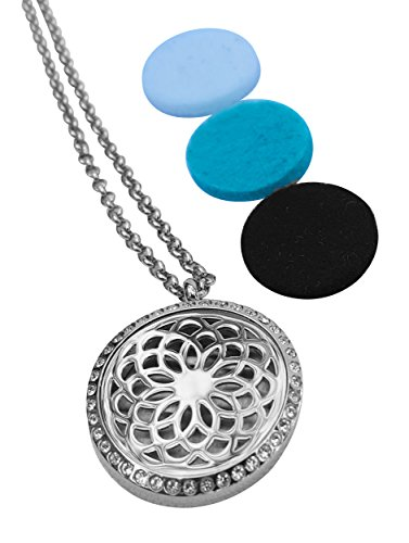 Luxury Aromatherapy Essential Oil Diffuser Necklace, Circular Locket Pendant with crystals by Essence Of Arcad, Now available in US with 5-star UK/Euro rating (Includes 9 Oils Pads-Christmas Gift Box)