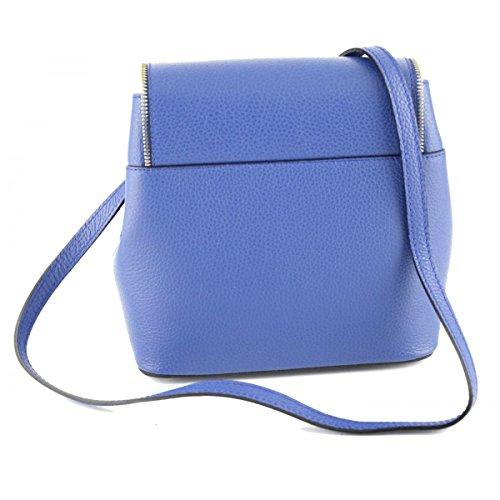 Borsa A Spalla In Vera Pelle Colore Blu - Pelletteria Toscana Made In Italy - Borsa Donna