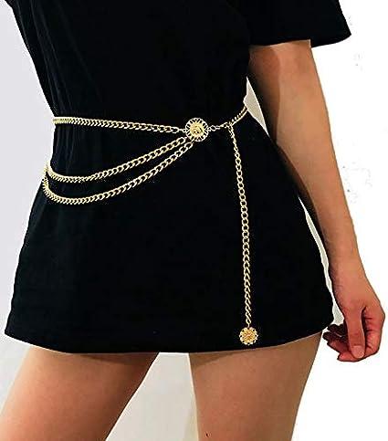 Catena Cinghia di Modo delle Donne Mature Vita Alta doro Limita Catena Edition Metallo Nappa di Spessore Brillante Attirare Belt Color : Style 1 Gold