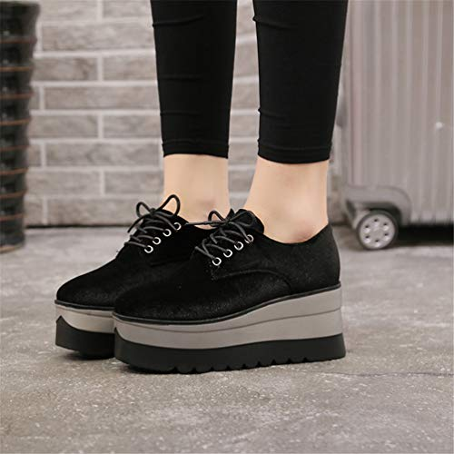 c8ba656eb25 Platform Women Black Spring Round Creepers Flock Oxfords Shoes Casual  Footwear Toe Flats Loafers Lace up Ladies Solid 54aSWqpn4    lavatory.action-coiffure. ...