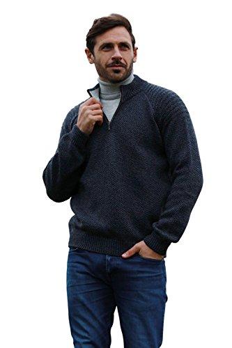 Merino Wool Irish Ribbed Troyer Half Zip Sweater (Large)