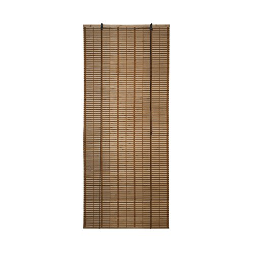 ALEKO BBL32X72BR Light Brown Bamboo Midollino Wooden Roll Up Blinds Light Filtering Shades 32 X 72 - Wooden Shade