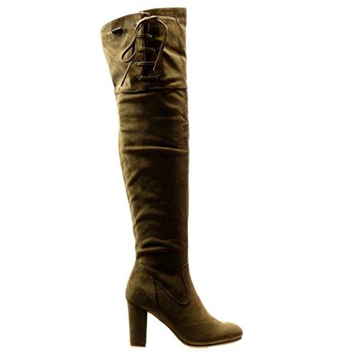 Angkorly - Scarpe da Moda Stivali Alti Stivali - Scarponi cavalier sexy flessibile donna nodo lacci Tacco a blocco tacco alto 8.5 CM - Khaki