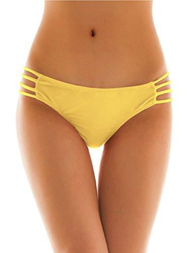 SHEKINI Womens Sexy Solid Strappy String Bikini Panties Hipster Thong Swimwear Bottom (Large/(US 12-14), Lily Yellow) ()