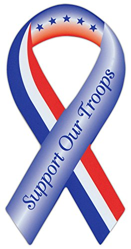 Ribbon Shaped Military Magnet - Support Our Troops - Cars, Trucks, SUVs, Refrigerators, Etc.
