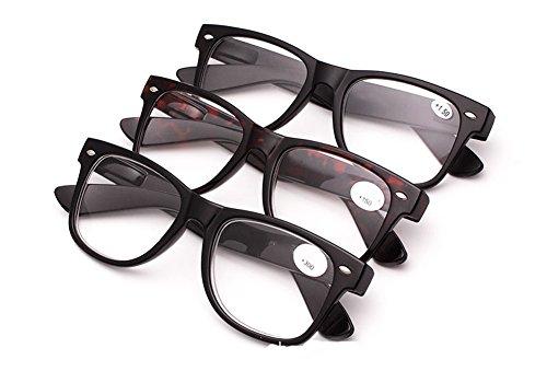 SOOLALA Value Pack of 3 Pairs Wayfarer Quality Readers Vintage Reading Glasses, - Mens Value Best Sunglasses