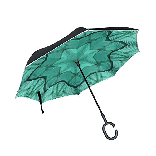 WBSNDB Double Layer Inverted Green Glass Abstract Design Pattern Modern Umbrellas Reverse Folding Umbrella Windproof Uv Protection Big Straight Umbrella For Car Rain Outdoor With C-shaped Handle ()