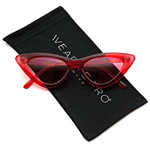 WearMe Pro - Retro Vintage Tinted Lens Cat Eye Sunglasses (Clear Red Frame / Tinted Pink Lens, 51)