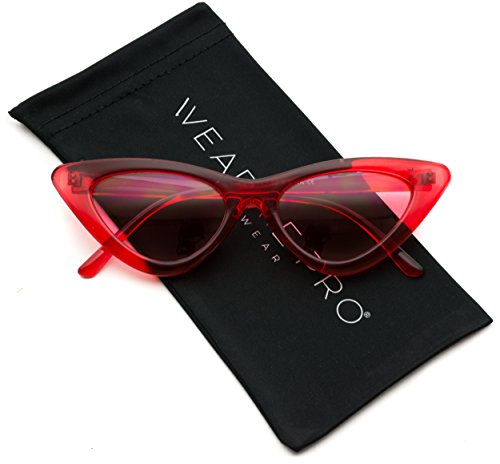 WearMe Pro - Retro Vintage Tinted Lens Cat Eye Sunglasses (Clear Red Frame / Tinted Pink Lens, - Frames Retro Cat Eye
