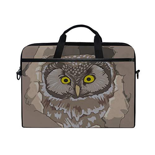 (Rh Studio Laptop Bag Owl Spy Out Vector Messenger Bag Case Sleeve for 14 Inch to 15.6 Inch with Adjustable Notebook Shoulder Strap)