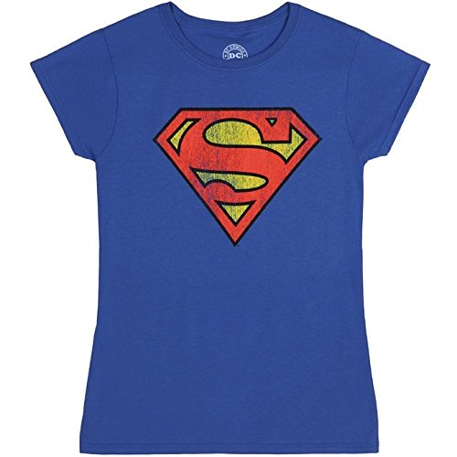 Superman Distressed Logo Juniors T-Shirt (Distressed Logo T-shirt)