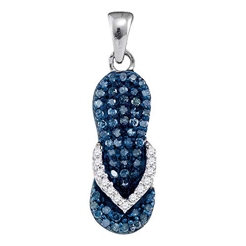 Jewels By Lux 10k White Gold Womens Blue Color Enhanced Round Diamond Flip Flop Sandal Nautical Shoe Pendant 1/3 Cttw In Pave Setting (I2-I3 clarity; Blue color)