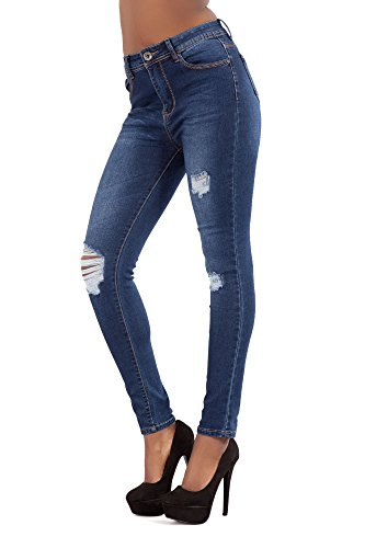 Skinny Blue 14 White Comfy Women High Size Slim Waist Trousers 6 Waisted High Jeans Stretch LustyChic Ladies Fit Black Blue 7qRIxRnaT
