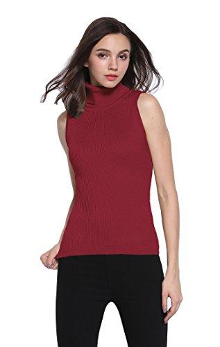 (Sofishie Sleeveless Ribbed Turtle Neck Sweater Tunic - Burgundy - Small)