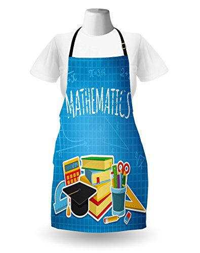 Lunarable Mathematics Classroom Apron, Education Science Concept School and College Supplies Set Books Cap, Unisex Kitchen Bib Apron with Adjustable Neck for Cooking Baking Gardening, Multicolor by Lunarable (Image #1)