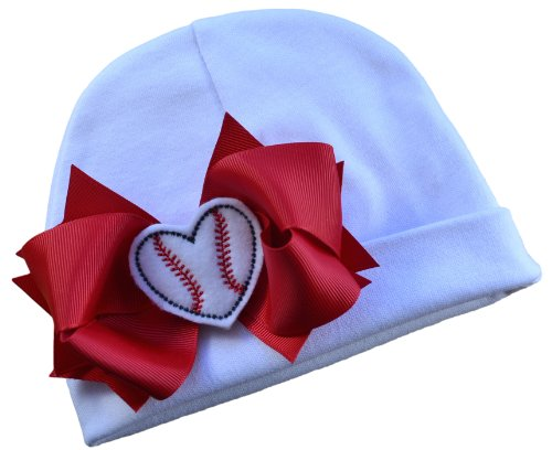 Baseball Bow Cotton Baby Hat with Embroidered Baseball Heart Fits Babies 0-6 Months