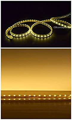 CBConcept® 50 Feet 120 Volt LED SMD3528 Flexible Flat LED Strip Rope Light - [Christmas Lighting, Indoor / Outdoor rope lighting, Ceiling Light, kitchen Lighting] [Dimmable] [Ready to use] [3/8 Inch Width x 1/4 Inch Thickness]