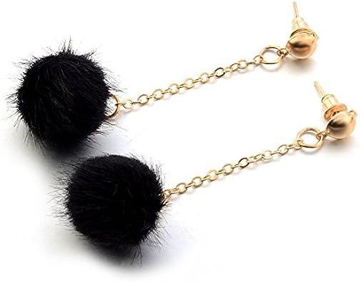 BLACK Pom Pom Earrings Pom Pom Jewelry Winter Jewelry Cute black earrings Chain dangle earring Simple Pom Pom Earring Customisable 22mm78