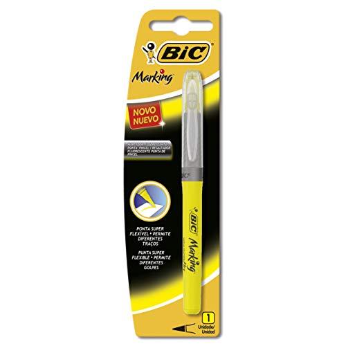 Pincel Marca Texto Flexível Amarelo 930072 Bic, BIC, 930072, Amarelo